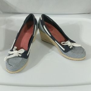 Sperry Clarens Striped Wedge Espadrille - size 6.5